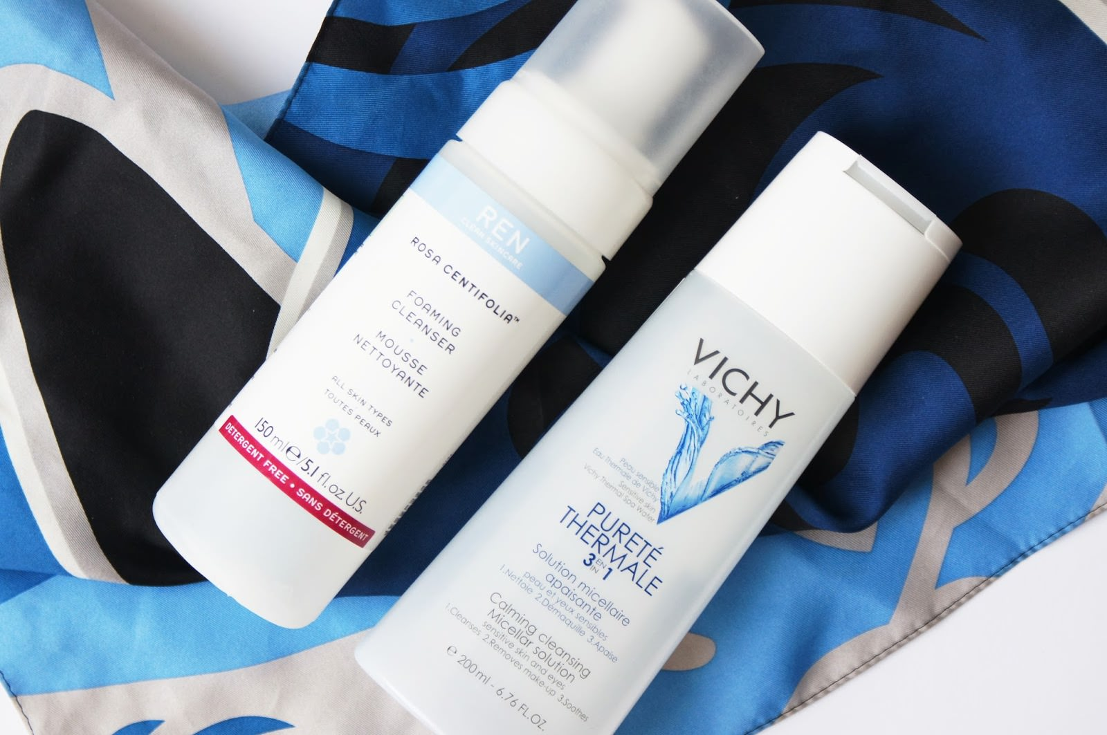 Vichy Purete Thermale 3-in-1 Cleansing Solution,REN Rose Centifolia Foaming Cleanser