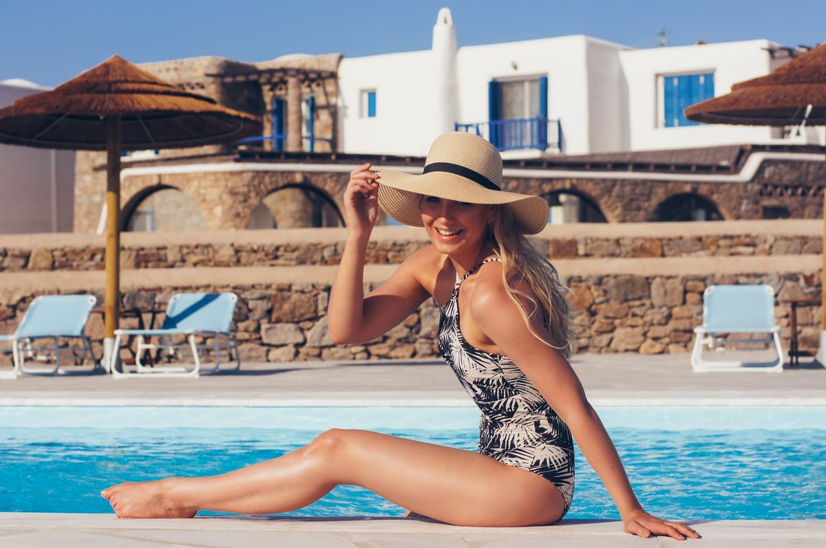 palm print one-piece swimsuit