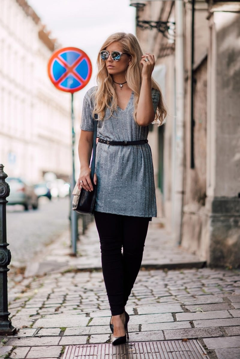 Metallic silver outfit
