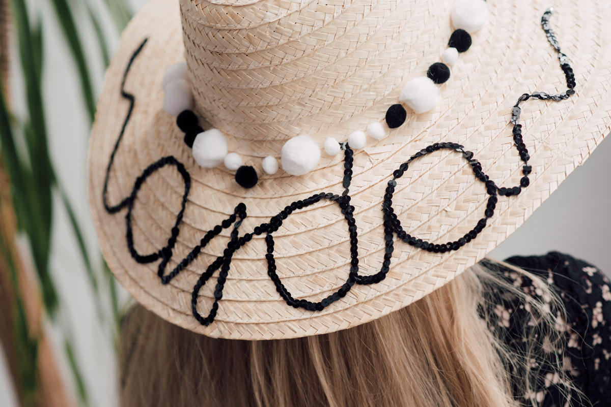 DIY sequined pom-pom text sunhat